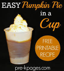easy pumpkin pie in a cup printable recipe for classroom