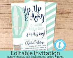 air balloon baby shower invitation balloon invitation