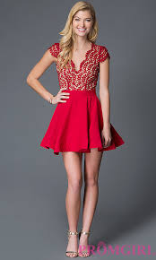 red open back lace bodice holiday dress promgirl