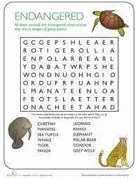 animal word search endangered species worksheet education com