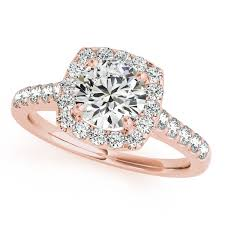 round square rings images Square halo round diamond engagement ring 18k rose gold 1 38ct jpg