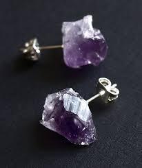 amethyst earrings amethyst chunk earrings geo earrings rock stud earrings