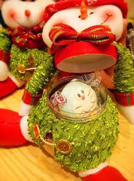 santa claus and snowman candy jar cloth doll candy box large round