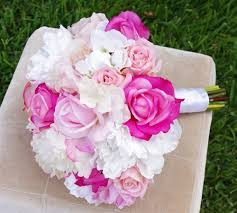 White Hydrangeas Natural Touch Pink Natural Touch Roses U0026 Off White Hydrangeas Bouquet