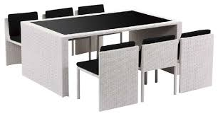 White Patio Dining Table And Chairs Taurus Table And 6 Chair Patio Dining Set Modern Outdoor