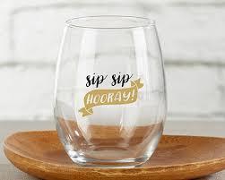 stemless wine glasses wedding favors stemless wine glass favor sip sip hooray barware wine glass