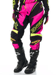 womens motocross riding gear oneal pink yellow 2017 element racewear womens mx pant oneal