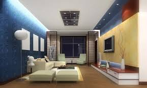 Yellow Accent Wall Azure Blue Wall Color For Modern Living Room Decorating Ideas With
