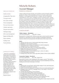 account manager resume exles account manager cv template sle description resume sales