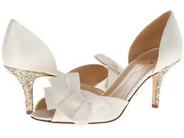 wedding shoes kitten heel kate spade ivory satin gold glitter kitten heel wedding pumps