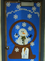 Red Ribbon Door Decorating Ideas Backyards Snowman Globe Chistmas Door Ideas For Classroom