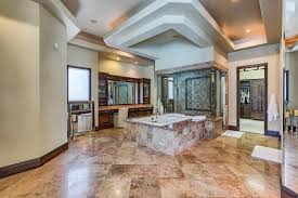 contemporary master bathroom with undermount sink u0026 high ceiling