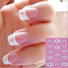 nail art stickers 3d decal french tips manicure white lace heart