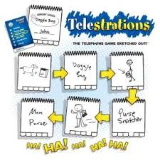 amazon com telestrations the telephone game sketched out game