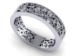 filigree wedding band made nouveau diamond wedding band eternity floral