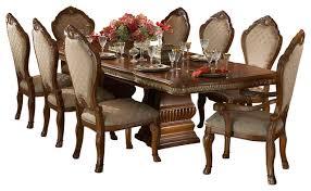 9 piece cortina rectangular dining room table set honey walnut