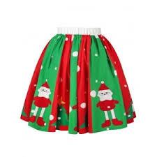 christmas skirt colormix xl christmas polka dot snowman tree print skirt rosegal