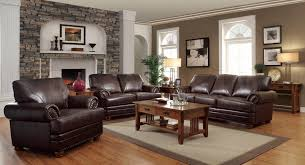 Living Room With Laminate Flooring Brown Leather Sofa With Brown Wooden Table Having Drawer On Grey