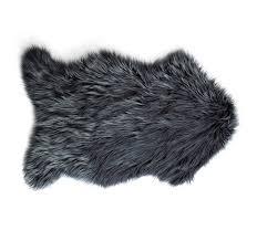 Mongolian Faux Fur Rug Mongolian Faux Fur 60x90cm Floor Rug Charcoal