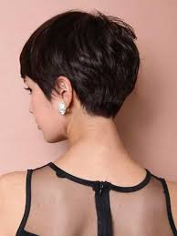 front and back views of chopped hair dark pixie cut back view pinteres