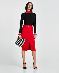 pencil skirt topstitched pencil skirt midi skirts woman zara united states