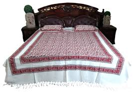 cotton tapestry bedspreads white maroon floral printed indian
