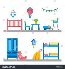 set elements kids room interior kid stock vector 422691709