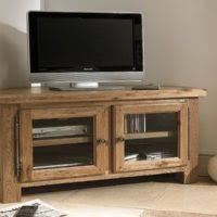 furniture small white stained wood corner tv stand and media