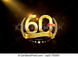 60 years anniversary 60 years anniversary with laurel wreath golden ribbon vector
