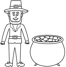 leprechaun with pot of gold coloring page st patrick u0027s day