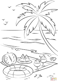 summer beach picnic coloring page free printable coloring pages