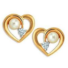 heart shaped earrings heart shaped earrings with pearls and diamonds uqe027 gold