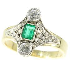 emerald antique rings images Late victorian diamond and emerald engagement ring description by jpg