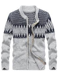 cardigans sweaters gray 3xl color block jacquard sweater
