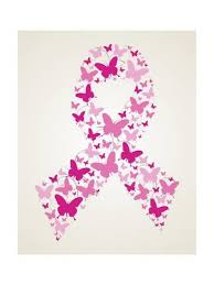 butterfly in breast cancer awareness ribbon prints by cienpies