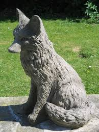 fox garden statue surrey ornamental stoneware
