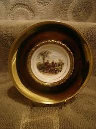 buy the hunt scene brass and bone china wall hanging plate with