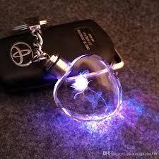 crystal key rings images 7 light led key cover keychain for couples crystal key flashlight jpg