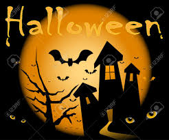 halloween illustration scene moon home night and cat eyes