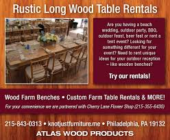 wedding table rentals rentals atlas wood products 215 725 5384