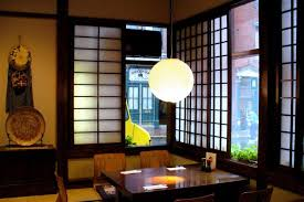 japanese style dining table with modern chandelier and glasss