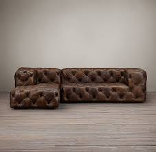 Tufted Leather Chaise Soho Tufted Leather Left Arm Chaise Sectional