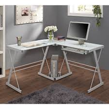 rolling computer desk glass and silver colored metal walmart com