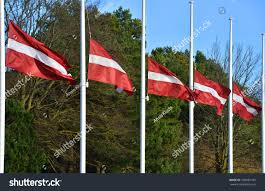 Flying The Flag At Half Staff Many Latvian Flag Flying Half Mast Stock Photo 339685184