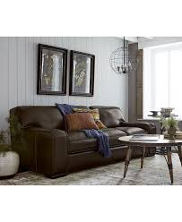 Living Room Furniture At Macy S Kassidy Leather Macys Sofa Subtle Contrast Luggage Stitching