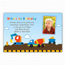 trucks construction photo birthday invitation card boy 1st 2nd
