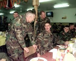 thanksgiving army gen wesley clark talks to 1st lt jeffrey csoka during