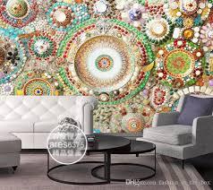 bohemian wallpaper 3d wall mural bedroom jade mosaic wallpaper
