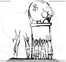 clipart of a woodcut black and white crowd worshipping a piggy