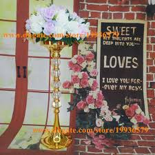 Tall Vases Wholesale Canada 24tall Metal Gold Flower Vase With Shiny Crystal Ball For Wedding